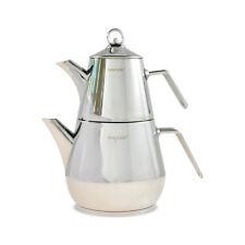 Türkischer Teekanne Edelstahl 18/10 INDUKTION Caydanlik Teekannen Set Tee Kanne