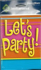 8 Count Invitation Note Cards Invites Orange Pink Yellow Blue Neon Let's Party