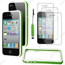 Housse Coque Etui Bumper Vert / Blanc Apple iPhone 4S 4+Mini Stylet+3 Film écran