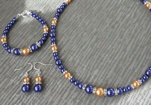 Purple & Orange Pearl Necklace Bracelet and Earring set