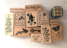 Friendship Get Well themed Wooden Rubber Stamps LOT of 13 - Used and NEW
