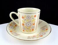 "BUDLET FINE CHINA IVORY ORANGE AND BLUE FLORAL 2 1/8"" DEMITASSE CUP AND SAUCER"