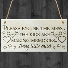 Please Excuse The Mess Novelty Wooden Hanging Plaque Parents Gift Kids Sign