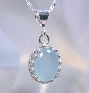 CHALCEDONY - Genuine Misty-Blue .925 Sterling Fleur-de-lis Necklace 2.67 ct.