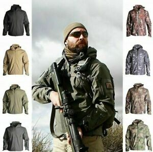 Mens Waterproof Military Tactical Winter Hooded Jacket Breathable Outdoor Coat~