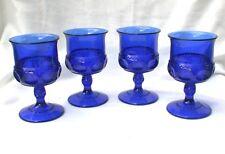 "King's Crown Cobalt Blue FOUR Wine Stems Goblets 4 3/8"" Tiffin Glass"