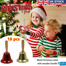 More details for 10pc christmas hand bell xmas new-year santa claus party celebrate rattle metal