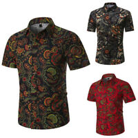 Personality Men's Summer Casual Slim Short Sleeve Printed T-Shirt Tops Blouse