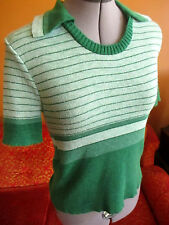 M True Vtg 70s STRETCH KNIT COLLARED HEATHER GREEN STRIPE POLO DISCO Top Shirt