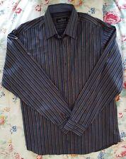 BUGATCHI UOMO Men's Blue with Multi-Color Stripes Dress Shirt Size L NEW