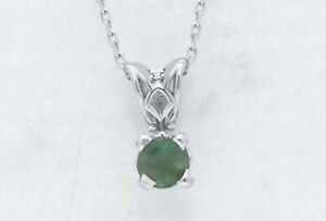 14k White Gold 0.32ct Round Natural Genuine Alexandrite Pendant 18-in Necklace