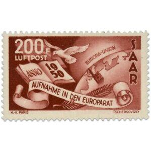 SARRE POSTE AÉRIENNE N°13 ADMISSION CONSEIL EUROPE, TIMBRE NEUF-1950
