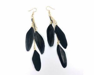 Novadab Dangling Trio Feather Earrings