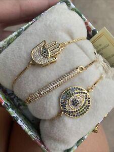 New ARM CANDY 24K GOLD PLATED CUBIC ZIRCONIA 3 Set Of Hamsa & Eye Bracelets
