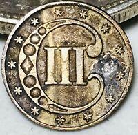 1853 Three Cent Silver Piece Trime 3c Type 1 High Grade Det. RPD US Coin CC5475