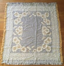 American Weavers Tapestry Throw Blanket Blue White Yellow Country Chic Cottage