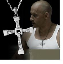 MENS SILVER CROSS NECKLACE  PENDANT FAST & FURIOUS   VIN DIESEL UK