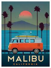 3x4 inch Vintage Art MALIBU VW Bus STICKER - surf california ca old beach travel