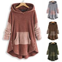 UK Women Long Sleeve Hoodies Winter Fleece Sweater Sweatshirt Hooded Jumper Tops