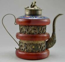 Old Handwork Jade & Tibet Silver Carved Dragon Phoenix TeaPot