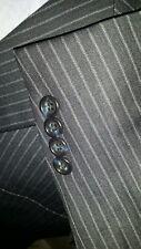 46L Gold Trumpeter Schaffner Hart Marx 2pc Suit Navy striped Jacket Pant 38 X 32