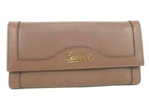 Auth Gucci Swing Leather Bifold Wallet Purple Women Unused K1807