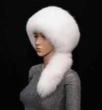 Genuine White Arctic Shadow Fox Fur Handmade Women's Winter Pillbox Bucket Hat