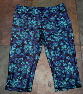 COLDWATER CREEK Size SP Teal Floral  Stretch Cropped Workout Yoga Pant EUC B