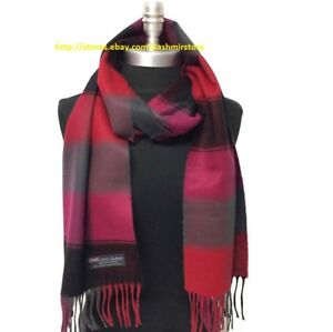 New 100%CASHMERE SCARF MADE IN SCOTLAND PLAID DESIGN SOFT UNISEX ,Black/Red/Gray