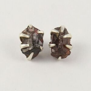 Trendy Fashion Stud Post Earrings 925 Sterling Silver Natural GARNET Rough Stone