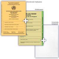 Internationaler Impfausweis + Ausweis für den Notfall + Schutzhülle Impfpass neu