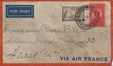 Lettre/Cover Brasil Air FRANCE, Brésil pour Paris 1938