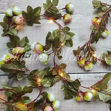 Pale Pink Rose Wire LED Fairy String Lights Battery Garland Wedding Decorations