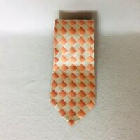 ARROW Mens Silk Tie Diamond Print Gray Silver Orange Necktie Ties Multi Colored