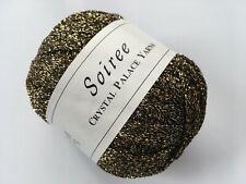 Crystal Palace Soiree #3691 Gold Black Mesh Tape Ribbon Yarn Soft & Slinky 50 gr