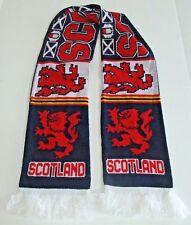 Scotland Knitted Scarf Lion Rampant Royal Banner Scotland Red Blue White Fringe
