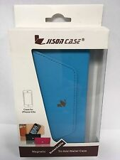 Jisoncase Magnetic Blue Tri-fold Wallet Case iPhone 5/5s JS-I5S-02H40
