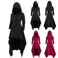 Gothic Women Steampunk Asymmetrical Hem Cloak Coat Jacket Outwear Parka Cosplay