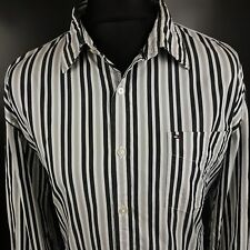 Tommy Hilfiger Mens Shirt XL Long Sleeve Black Custom Fit Striped Cotton