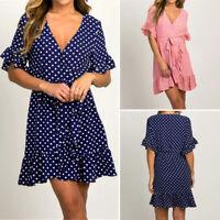 Womens Polka Dot V Neck Wrap Mini Dress Bohemia Ruffle Frill Evening Party Dress