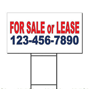 For Sale Or Lease Phone Custom Red Blue Custom Plastic Yard Sign /Free Stakes