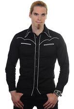 Banned rockabilly Elástico blanco hombre camisa Top con bolsillo Punky Gótico XL (106.7cm pecho)