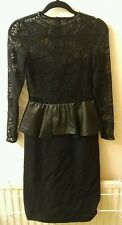 Zara Studio Black Lace Leather Peplum Dress Size S UK 6/8