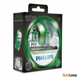 PHILIPS H4 ColorVision Green Headlight Bulbs 12V 60/55W P43t-38 12342CVPGS2 Twin