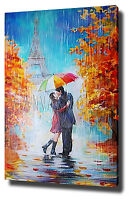 LADY RED UMBRELLA PARIS CANVAS PAINTING WALL ART PRINT POSTER PHOTO EIFFEL TOWER