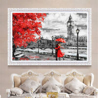 London Big Ben Red Umbrella Oil Canvas Painting Wall Art Picture Print Decor