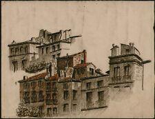 DESSIN PASTEL. Architecture Ville Languedoc.Ca1965. Da581