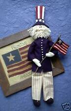 PRIMITIVE FOLK ART SEWING PATTERN 'OLDE GLORY'  UNCLE SAM DOLL & AMERICAN FLAG