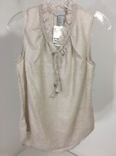 H&M WOMEN'S TEXTURED SHIMMER TIE NECK TOP CHAMPAGNE US SZ NWT $30