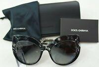 Dolce & Gabbana Sunglasses Black Lace Cat Eye Frame Grey Gradient Lens 4321F New